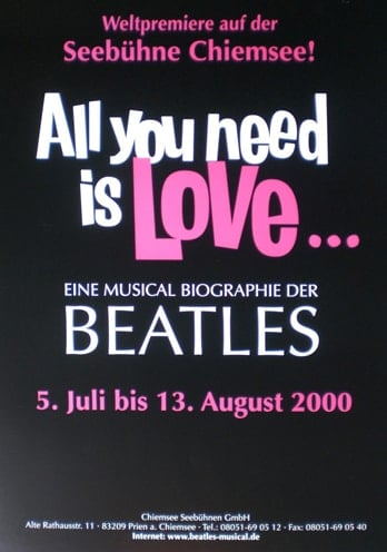 2000: Musical-Plakat ALL YOU NEED IS LOVE, groß