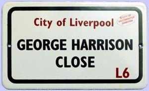 BEATLES: kleines Blechschild GEORGE HARRISON CLOSE L6