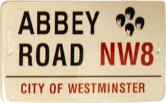 BEATLES: Blechschild ABBEY ROAD NW8