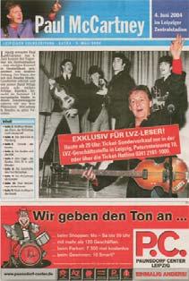 PAUL McCARTNEY: Zeitschrift Leipziger Volkszeitung