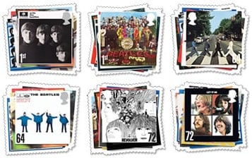6 Briefmarken THE BEATLES MINT STAMP SET