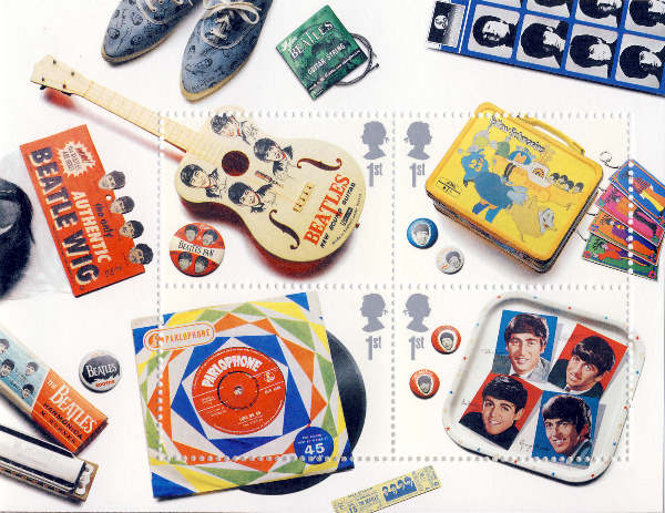 BEATLES: 4 Briefmarken THE BEATLES MINIATURE SHEET