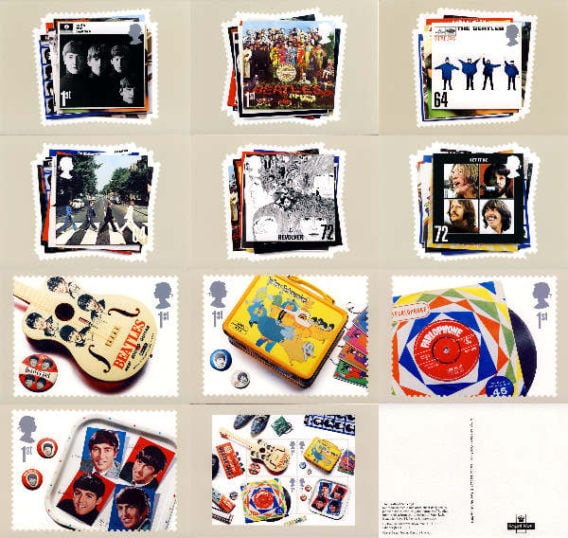 BEATLES: 11 Postkarten THE BEATLES STAMP POST CARDS