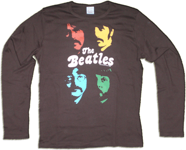 BEATLES: Longsleeve-Shirt SGT. PEPPER FACES ON BROWN