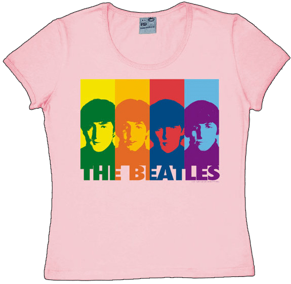 BEATLES: Girlie Shirt A Hard Day's Night STRIPES ON PINK