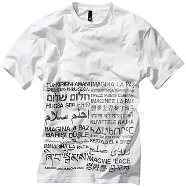 JOHN LENNON: T-SHIRT IMAGINE PEACE, weiß