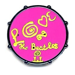 "BEATLES Pin BASS DRUM ""LOVE"" FROM ON PURPUR"
