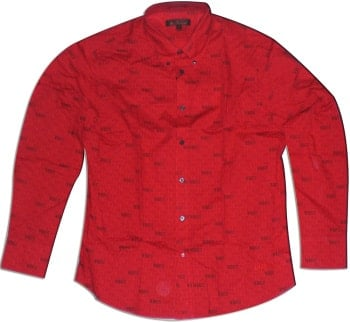 Langarm-Hemd THE BEATLES black & grey on red