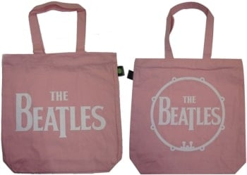 "Shopperbag SIGN ""THE BEATLES"" WHITE ON PINK"