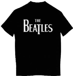 T-Shirt LETTERING THE BEATLES WHITE ON BLACK