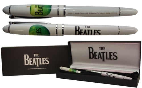 Kugelschreiber / pen THE BEATLES & APPLE LOGOS ON WHITE