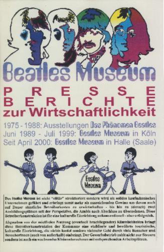 2. Januar 2004: Broschüre BEATLES MUSEUM PRESSEBERICHTE