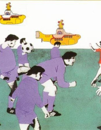 BEATLES-Grußkarte E-02: YELLOW SUBMARINE - FOOTBALL