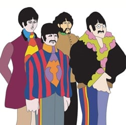 BEATLES-Grußkarte F-11: THE FOUR YELLOW SUBMARINE BEATLES.