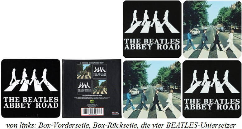 4er BEATLES-Untersetzer-Set ABBEY ROAD ALBUM MOTIVES