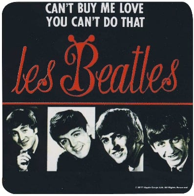 BEATLES Untersetzer CAN'T BUY ME LOVE SINGLE COVER FRANCE