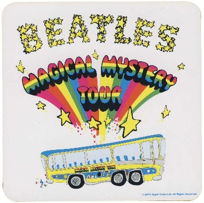 BEATLES Untersetzer MAGICAL MYSTERY TOUR LOGO & BUS