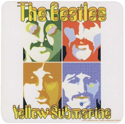 BEATLES Untersetzer YELLOW SUBMARINE PSYCHEDELIC FACES
