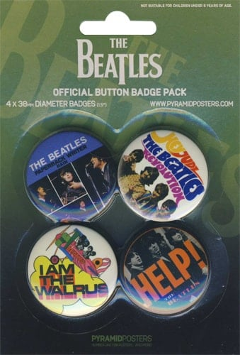 BEATLES: 4 Button Set GREEN WITH PAPERBACK WRITER