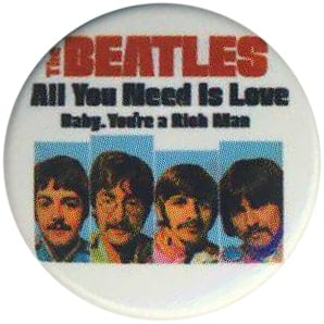 BEATLES-Button ALL YOU NEED IS LOVE SINGLE COVER USA